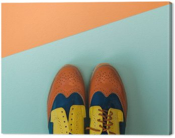 Flat lay fashion set: colored vintage shoes on colored background. Top view. Canvas Print