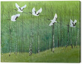 Canvas Print flight of cranes