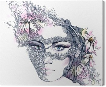 floral decorated face Canvas Print
