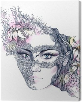 Canvas Print floral decorated face