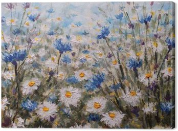 Canvas Print Flowers. Glade of cornflowers and daisies. Summer flowers.