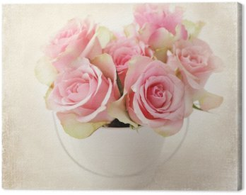 Canvas Print flowers. pink roses in a vase