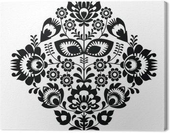 Folk embroidery with flowers - polish pattern monochrome