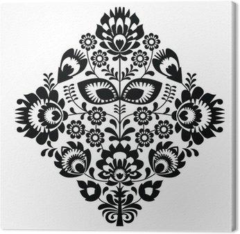 Canvas Print Folk embroidery with flowers - polish pattern monochrome