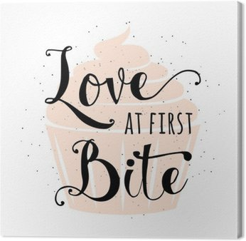 Food related typography quote with cupcake, hand drawn lettering text sign slogan love at first bite. Fun bakery banner, poster, card, placard creative design isolated on vintafe, retro background