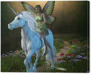 Canvas Print Forest Fairy and Unicorn