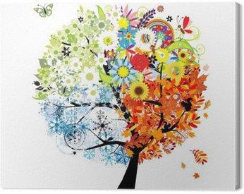 Canvas Print Four seasons - spring, summer, autumn, winter. Art tree