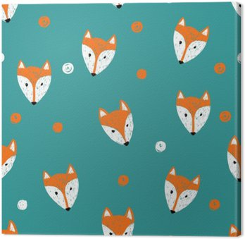 Fox seamless pattern. Doodle background. Canvas Print