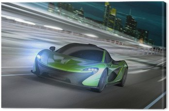 Canvas Print frankfurt city night racer