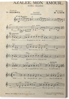 French antique vintage music sheet.