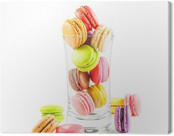 Canvas Print french colorful macarons in a glass