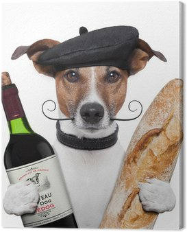 Canvas Print french dog wine baguette beret