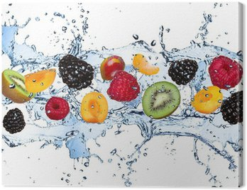 Canvas Print Fresh fruits in water splash, isolated on white background