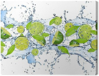 Canvas Print Fresh limes in water splash,isolated on white background