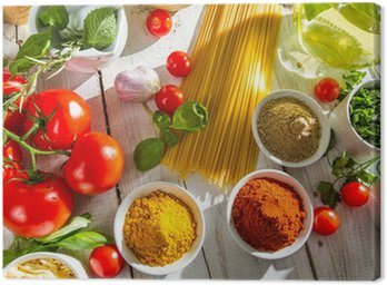 Canvas Print Fresh vegetables and spices in Italian cuisine