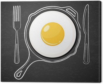 Fried egg and hand drawn outline watercolor pan, fork and knife