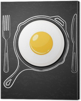 Canvas Print Fried egg and hand drawn outline watercolor pan, fork and knife