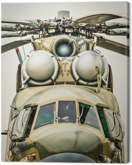 Canvas Print Front view of russian military helicopter.
