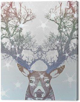 Canvas Print Frozen tree horn deer