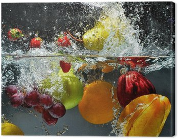 Canvas Print Fruit and vegetables splash into water