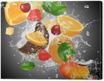 Fruit with splashing water