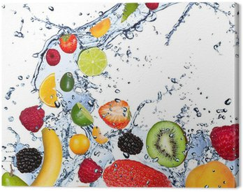 Canvas Print Fruits falling in water splash, isolated on white background