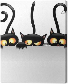Canvas Print Funny Cats Cartoon with Panel-Gatti Buffi con Pannello