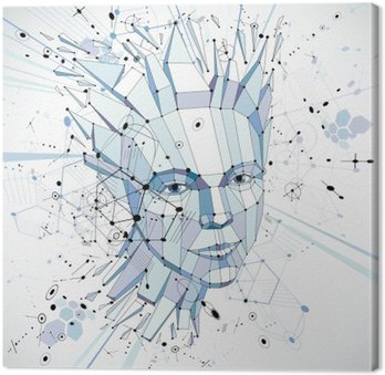 Futuristic 3d vector background made using Bauhaus elements. Hea Canvas Print