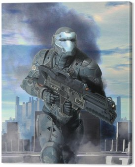 Canvas Print futuristic soldier armor at war