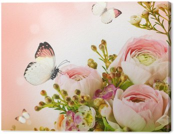 Canvas Print Gentle bouquet from pink roses and butterfly