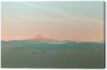 Geometric Mountain Landscape with Gradient Sky