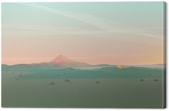 Canvas Print Geometric Mountain Landscape with Gradient Sky