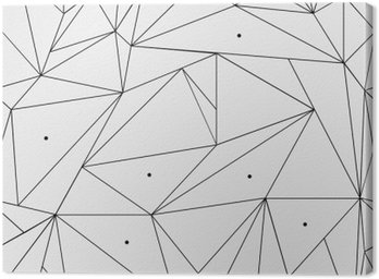 Canvas Print Geometric simple black and white minimalistic pattern, triangles or stained-glass window. Can be used as wallpaper, background or texture.