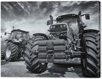 Canvas Print giant farming tractors and tires