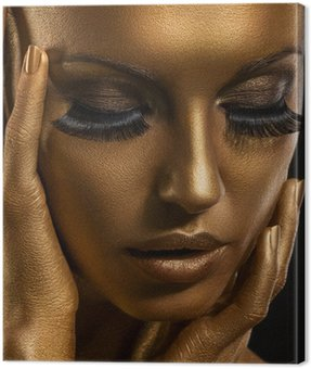 Canvas Print Gilt. Golden Woman's Face. Giled Make-up. Painted Skin