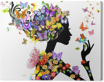 Canvas Print girl fashion flowers with butterflies