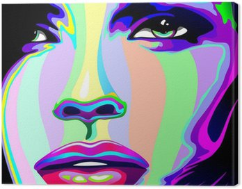 Girl's Portrait Psychedelic Rainbow-Viso Ragazza Psychedelico Canvas Print