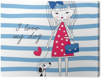 Canvas Print girl with dog vector illustration