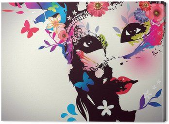 Girl with mask/Vector illustration Canvas Print