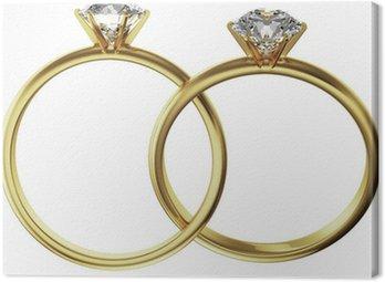 Gold diamond rings intertwined