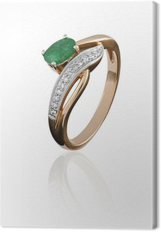 Canvas Print gold ring with an emerald