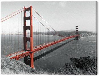 Golden Gate Bridge Red Pop on B&W Canvas Print