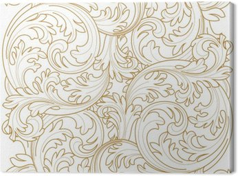 Golden vintage frame scroll ornament engraving border floral retro pattern antique style acanthus foliage swirl decorative design element filigree calligraphy vector | damask - stock vector