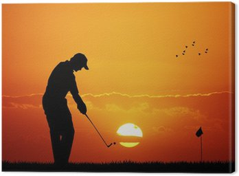 Canvas Print golf at sunset