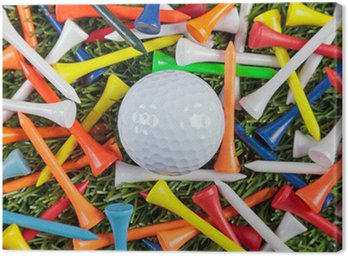 Canvas Print Golf ball and wooden tees collection.
