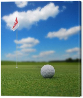 Canvas Print Golf ball in front of flag