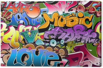Graffiti seamless background. Hip-hop art Canvas Print