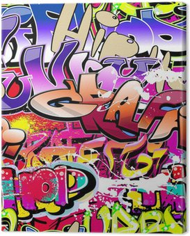 Graffiti seamless background. Hip-hop urban art Canvas Print