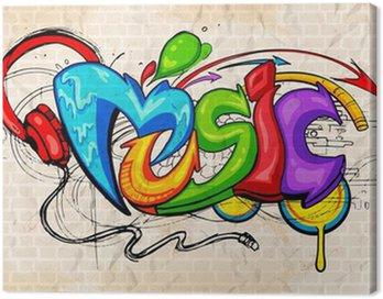 Canvas Print Graffiti style Music background