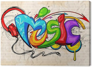 Graffiti style Music background Canvas Print